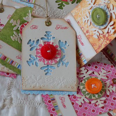 Christmas tags with buttons