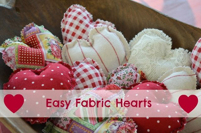 "Easy Fabric Hearts. I use these year round for gifts, just toss some into a gift bag along with the gift, for a little extra ""I Care."" Kids love them too because they mean love to them. Make them and donate them to nursing homes, hospitals, hospice...anyplace people need a hug."