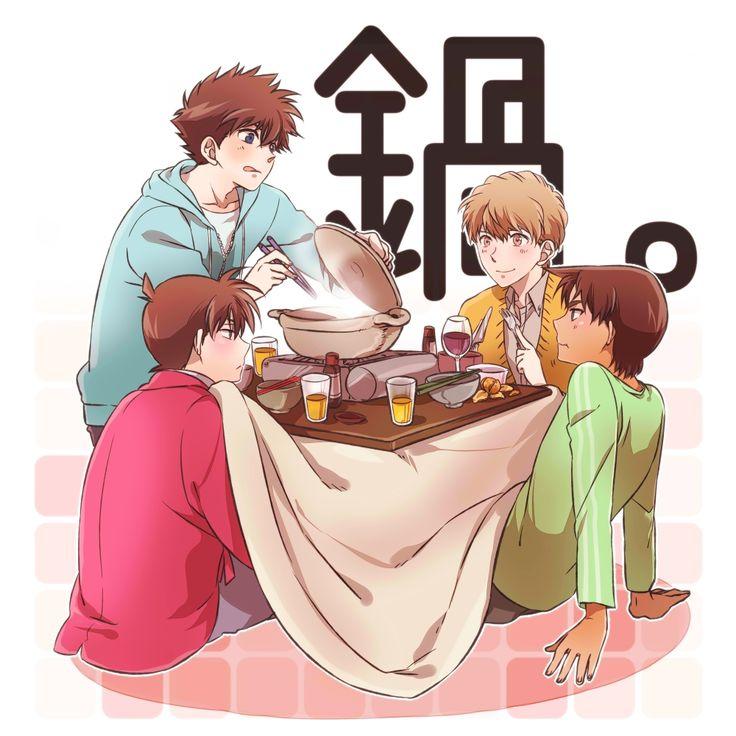 Anime- Detective Conan; Characters- Kudou Shinichi, Hattori Heiji, Kuroba Kaito & Hakuba Saguru.