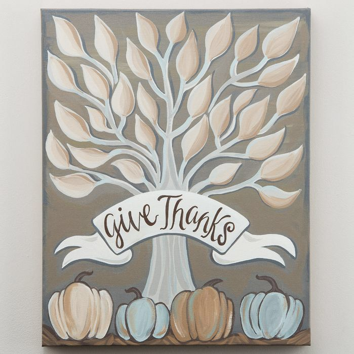 Fall 'Give Thanks Tree Neutral' Painting Print on Canvas