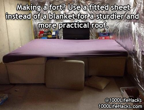 How have I not thought of this in my many fort building endeavors!! Freaking genius.