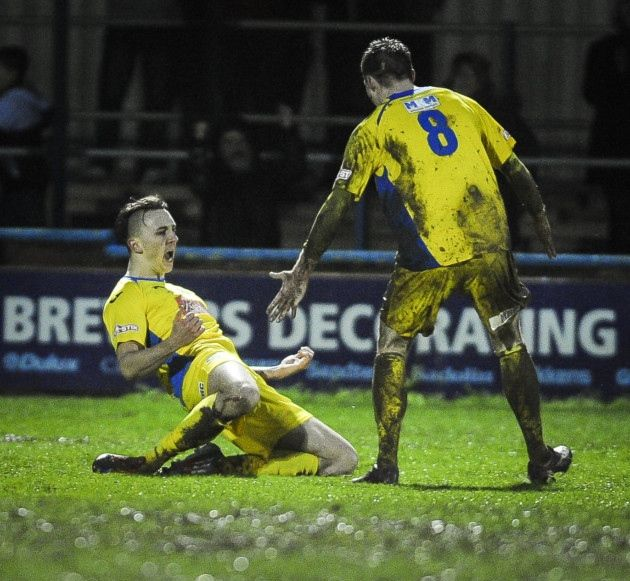 Action from King's Lynn Town v Ilkeston at The Walks - Charley Sanders celebrates his first goal for Lynn Town. Picture: Matthew Usher.
