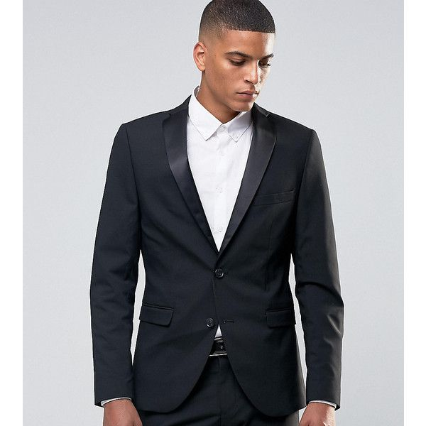 Selected Homme Tuxedo Suit Jacket with Stretch in Slim Fit ($86) ❤ liked on Polyvore featuring men's fashion, men's clothing, men's suits, black, mens tuxedos, slim and tall mens clothing, mens tuxedo suits, mens slim fit suits and mens suits