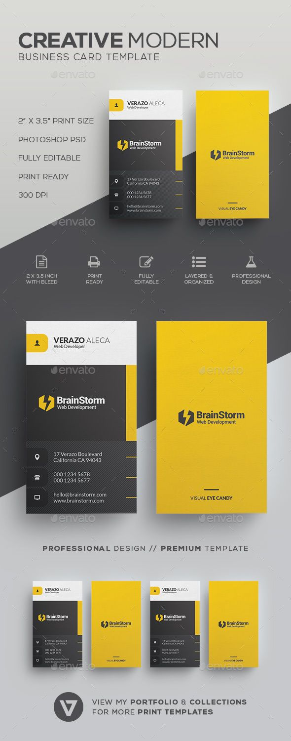 Modern Business Card Template - Corporate Business Cards Download here: graphicr...