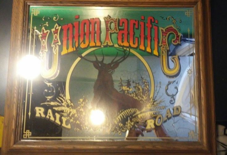 Vintage Framed Mirror Union Pacific Railroad Rr Advertising Bar Man Cave