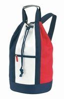 """Match bag 600D 'Marina', rood / wit / blauw. 600D/300D polyester plunjezak """"Marina"""" met afsluitbaar voorvak, enkele schouderband en handvat. Te bedrukken met zeefdruk of transferdruk. Minimale afname 50 stuks"""