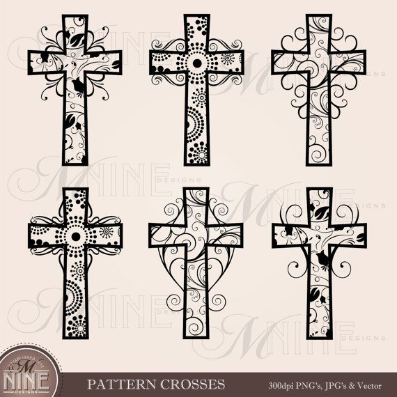 PATTERN CROSSES Clipart Cross Clip Art Vector Art File, Instant Download, Easter Christian Religious Vintage Black Silhouette