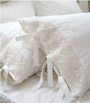 Amazon.com: Shabby and Elegant Style Ivory white Lace W/ties Matching Cotton Pillowcase: Home & Kitchen
