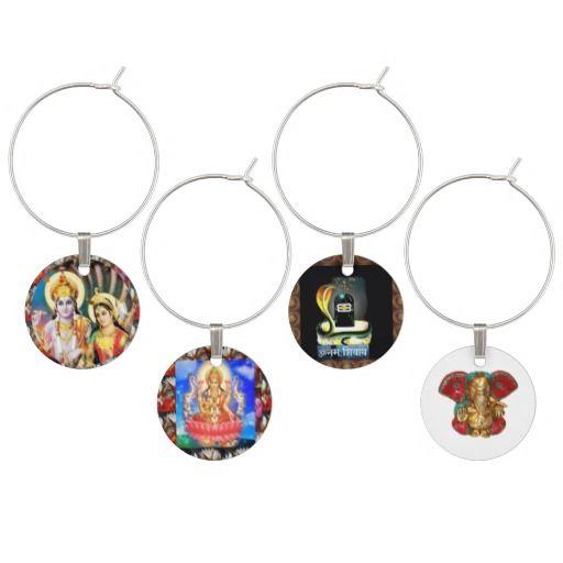 4 Charms Laxmi Narain Shiva Linga Ganapat Ganesha Wine Glass Charm