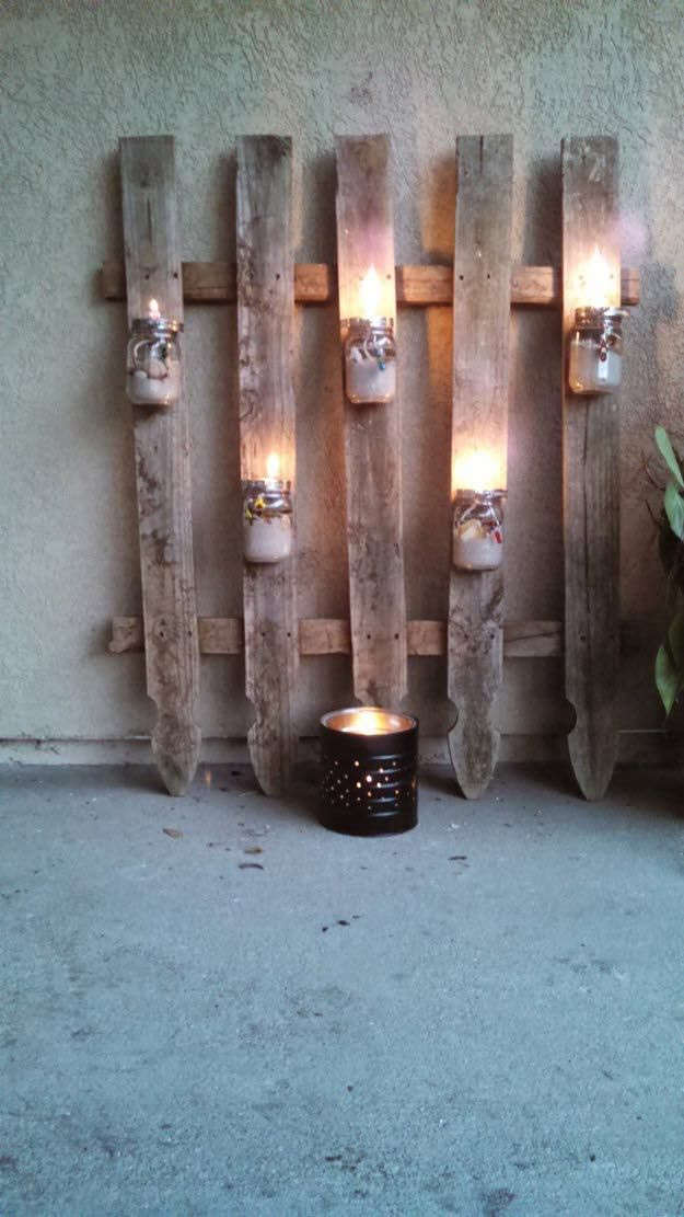 Fence With Mason Jar Lighting | DIY Outdoor Projects | The Ultimate List