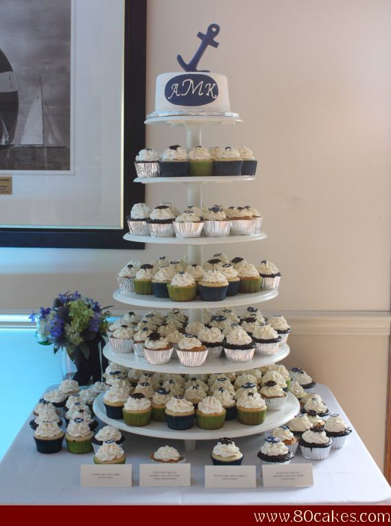 Anchors Away! Wedding Cupcake Tower..like the navy blue and green colors