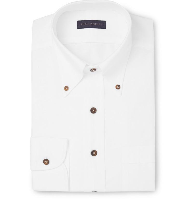 Thom Sweeney - White Slim-Fit Textured-Cotton Oxford Shirt | MR PORTER