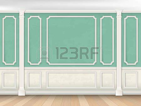 дерево литье: Зеленый интерьер стены в классическом стиле с пилястрами и лепниной.  Архитектурный фон.