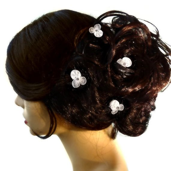 Delicate Fabric Flower Bridal Wedding Hair Twists by CBAccessories, $19.95