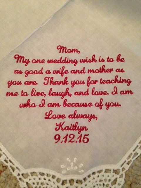 Wedding Handkerchief - mother of the bride gift - embroider personalize wedding gift for parent - bridal handkerchief by SimplyEmbroidered on Etsy