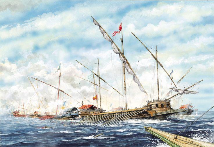 Battle of Lepanto - The Venetian galleasses break up the Turkish battle line