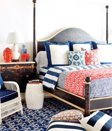 sapphire/coral/whiteDecor, Guest Room, Coral Bedroom, Guest Bedrooms, Blue, Colors, White, Mixed Pattern, Bedrooms Ideas
