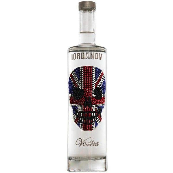 Iordanov Vodka Premium Vodka - Union Jack Skull ($66) ❤ liked on Polyvore featuring home, home decor, vodka bottle, skull bottle, skull head vodka bottle, skull head bottle and crystal skull bottle