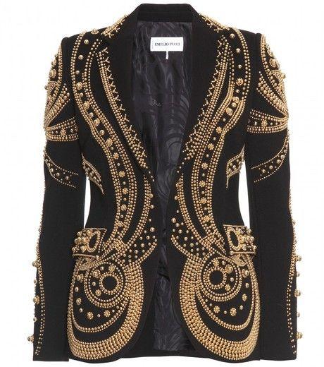 #EMILIO #PUCCI  #Metallic Bead Embroidered #Blazer - Lyst