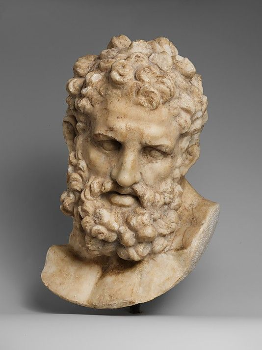 Roman marble head of Herakles  Imperial  1st century A.D.