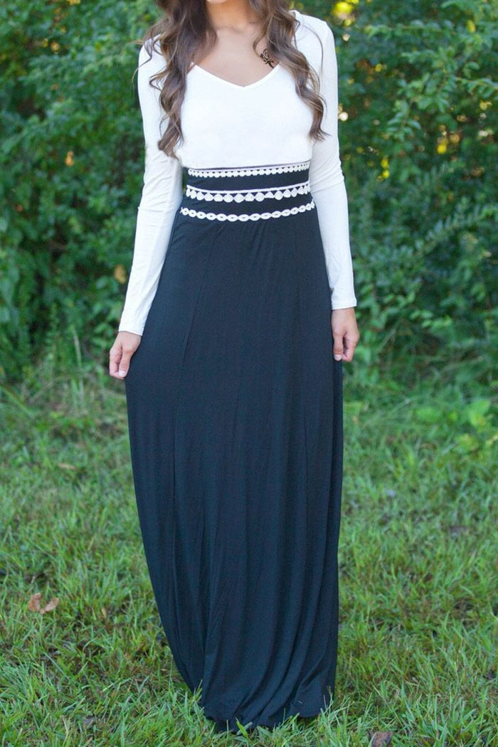 White And Black Long Sleeve Maxi Dress