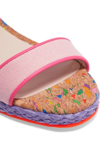 Sophia Webster - Lucita Leather-trimmed Canvas Espadrille Wedge Sandals - Pink - IT