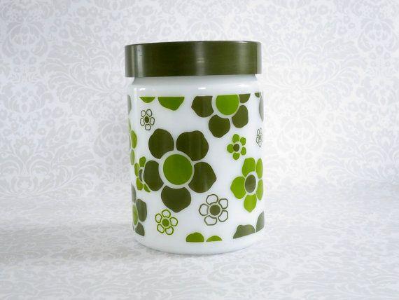 Fire King Glass Storage Jar Green Crazy Daisy - Retro Kitchen Storage - Rare Fire King Green Daisy Pattern Flour or Sugar Jar