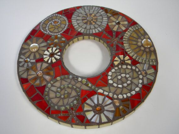 Red and Beige Round Mosaic Mirror  Original Art by TheMosartStudio, $155.00