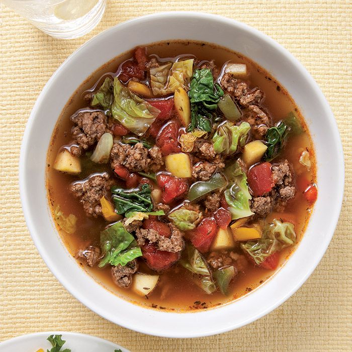 Sweet & Sour Beef-Cabbage Soup | This wholesome sweet-and-sour soup combines beef, caraway seeds, sweet paprika and cabbage—ingredients that star in a number of German dishes.