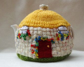 English Country Thatched Cottage design hand knitted Tea Cosy