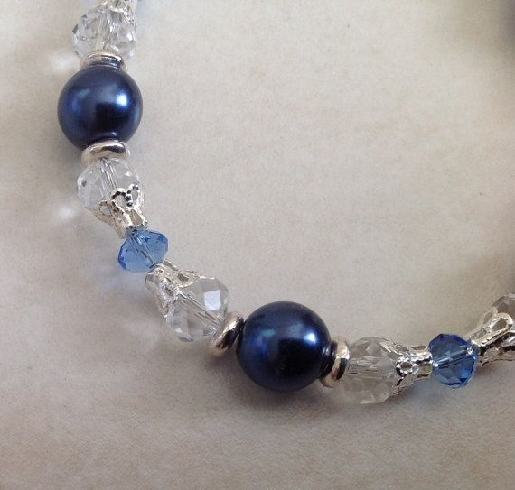 Blue Pearl Glass and Silver Beaded Bracelet by EverGracefulGifts