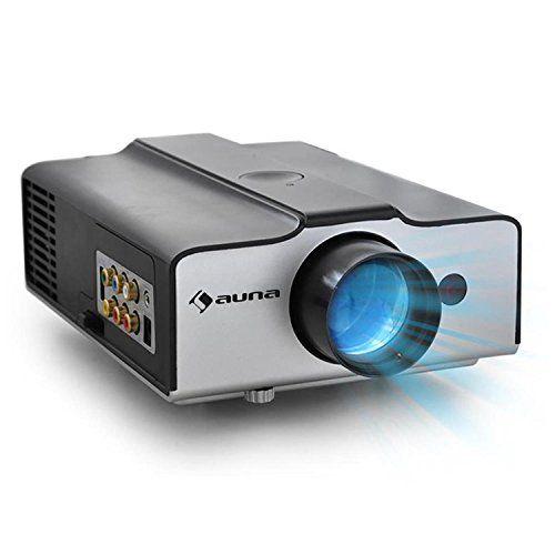 auna EH3BS Vidéoprojecteur LED (HDMI, résolution 640×480 pixels, haut-parleurs intégrés, boîtier compact, sleeptimer, télécommande, kit de…
