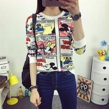 2016新しい夏春スウェットシャツ tシャツ女性トップス プラス サイズ緩い長袖の漫画/ ストライプ tシャツ の女の子tシャツ blusas(China (Mainland))