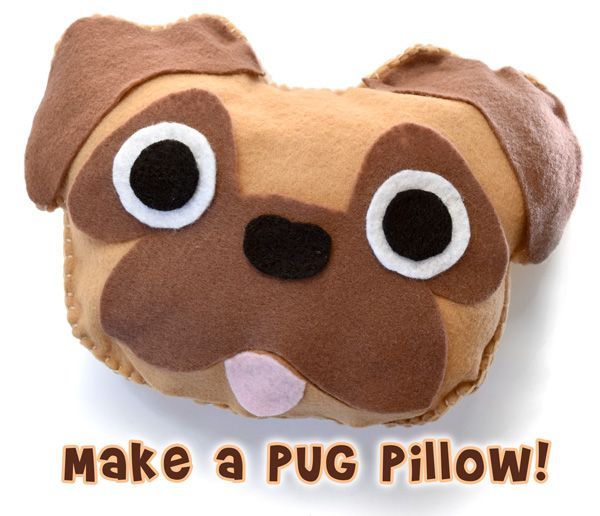 Make an adorable pug dog pillow craft with our free beginner sewing pattern!
