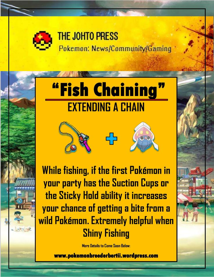 Ever heard of the easiest way to catch Shiny Pokemon? Well Fishing is the easiest way if you know what you are doing. Chaining is the constant encounter of the same pokemon in a row. Extending a chain is critical in raising your percentage, using a pokemon with suction cups or stick hold will raise the encounter rate while fishing! So go now and start catching some fish pokemon!   Johto Press Blog: www.pokemonbreederbertii.wordpress.com Johto Press YouTube…