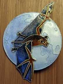 Bat in the Moonlight pin- 3 layers of sterling with cloisonne enamel benefits Bat Conservation International.