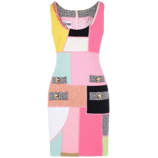 Moschino Short Dress ($1,535) ❤ liked on Polyvore featuring dresses, fuchsia, sleeveless dress, multi-color dress, print mini dress, pink tweed dress и fuchsia pink dress