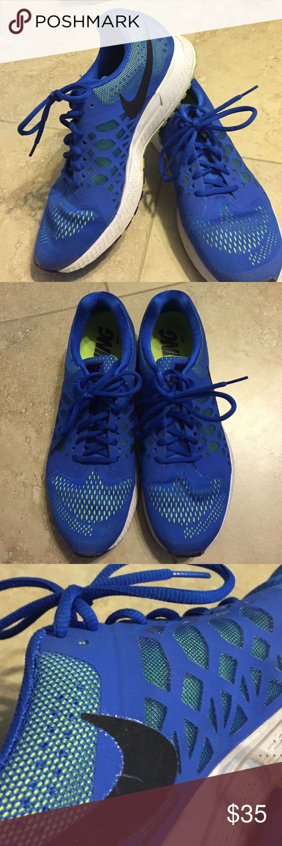 Blue Nike Zooms Blue/ neon yellow Nike Zoom. In amazing condition. Worn once/twice 😊 perfect for a run! Nike Shoes Athletic Shoes