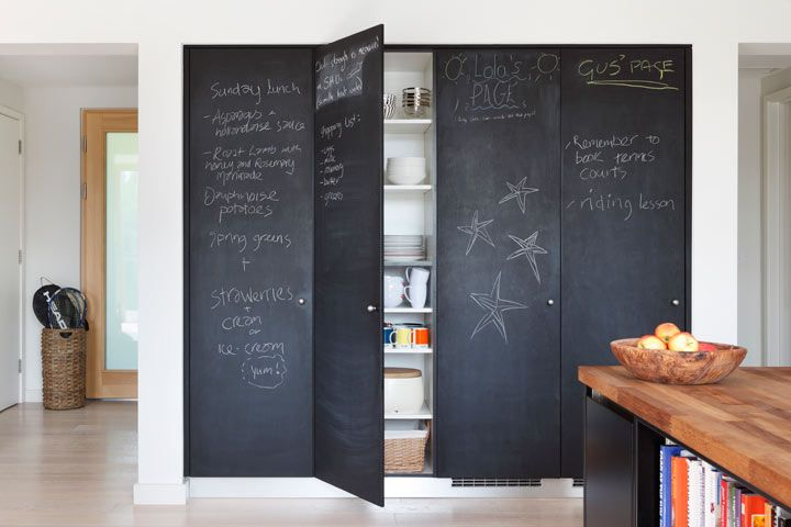 Carden Cunietti: Contemporary kitchen with floor to ceiling black chalkboard pantry doors and butcher ...