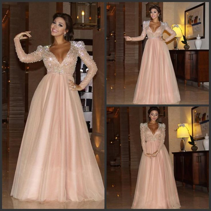 2016 Myriam Fares Evening Dresses With Long Sleeve V-Neck Blush Pink Bling Bling Crystal Beaded Sequin Party Prom Gowns Plus Size Online with $136.13/Piece on Wheretoget's Store | DHgate.com