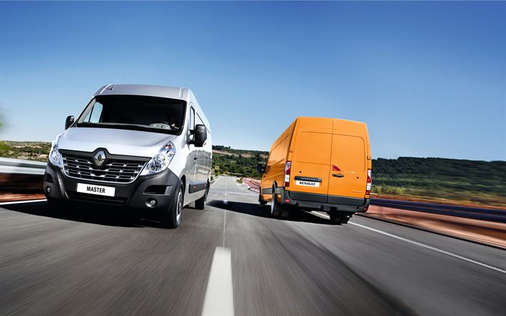 Download wallpapers Renault Master, 2018, 4k, commercial vehicles, cargo, minibuses, new silver Master, cargo transportation, Renault