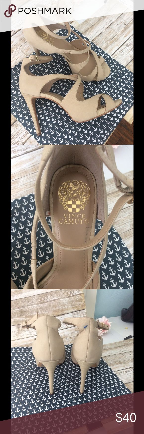 Vince Camuto cream  heel sandals size 71/2 The right shoe has a blue mark in the back I haven tried to remove, see picture. Vince Camuto Shoes Heels