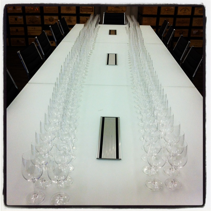 Our Riedel glasses in the new wine school - all ready for supping from!