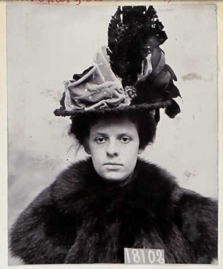 JAILED FASHION: Female inmate of San Quentin State Prison and their very fine hats.  1910s. No. 2