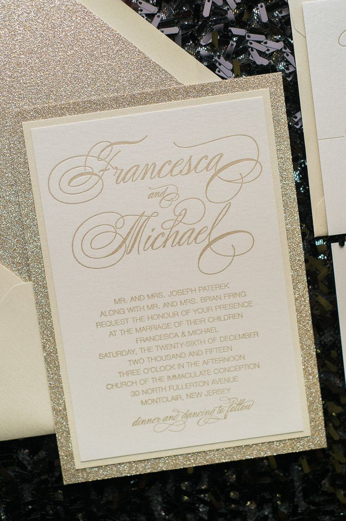 BIANCA Suite Fancy Glitter Package, neutral wedding invitations, champagne, glitter, soft gold, letterpress wedding invitations, fancy glitter invitations