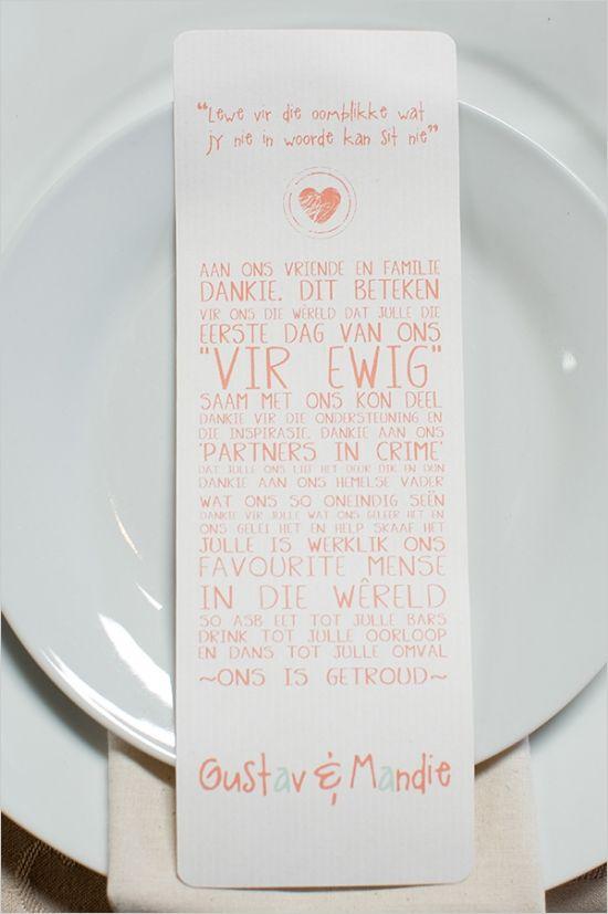 cute wedding sayings at place setting #placesetting #weddingideas #weddingchicks http://www.weddingchicks.com/2014/02/27/south-africa-farm-wedding/