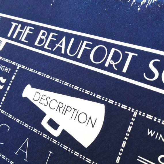 The Beaufort Scale A4 Hand coated by spacemonkeypress on Etsy