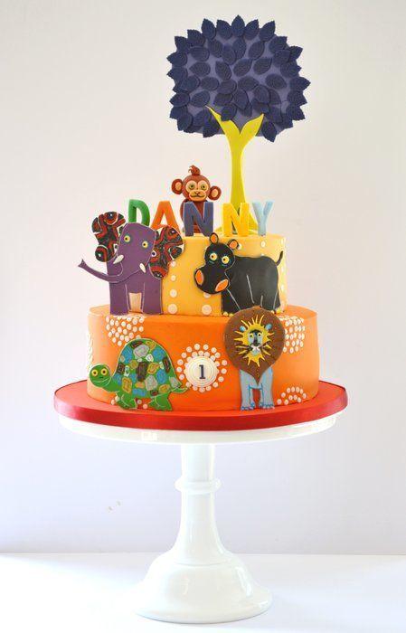 Tinga Tinga Tales 2 tier birthday cake