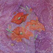 """Аксессуары ручной работы. Ярмарка Мастеров - ручная работа Шелковый платок """"Маки"""". Handmade."""
