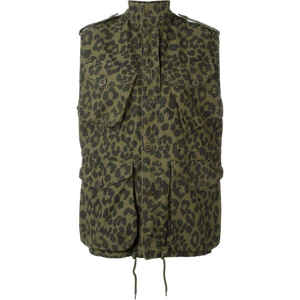 Saint Laurent leopard print military jacket (56 540 UAH) ❤ liked on Polyvore featuring outerwear, jackets, green, leopard print jacket, field jackets, green military jacket, military jacket and green sleeveless jacket